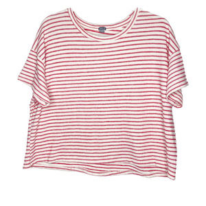 arie Red and White Striped Black Tee Shirt Medium